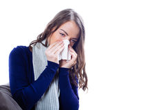 Young woman having flu. Against white background Royalty Free Stock Image