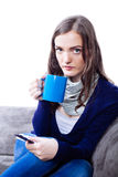 Young woman having flu Stock Images
