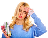 Young woman having flu takes pills. Isolated Stock Photos