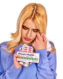 Young woman having flu takes pills Stock Images