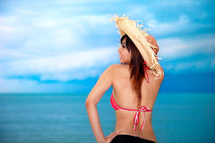 Young woman having fun at beach Stock Image