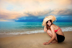 Young woman having fun at beach Royalty Free Stock Images