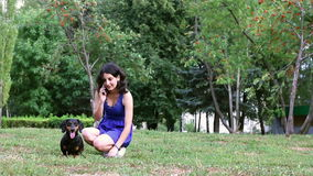 Young woman having fun with dachshund dog in park talking on the phone. stock video