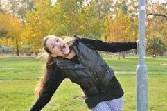 Young woman having fun outdoors Royalty Free Stock Photos