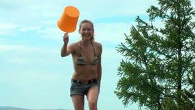 Young woman having fun stock footage