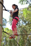 Young woman having fun on a rope park adventure course. In a eucalyptus forest Royalty Free Stock Photography