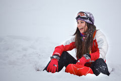 Young woman having fun in winter Royalty Free Stock Photos
