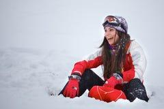 Young woman having fun in winter Royalty Free Stock Photos