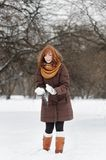 Young woman having fun in winter Royalty Free Stock Photography