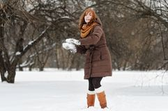 Young woman having fun in winter Royalty Free Stock Image