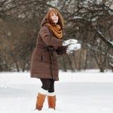 Young woman having fun in winter Stock Photos