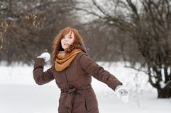 Young woman having fun in winter Stock Photo