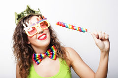 Young woman having fun. Young pretty woman with crown is laughin Royalty Free Stock Images