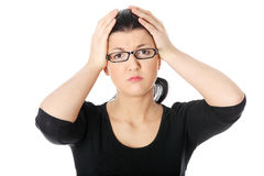 Young woman having headache Stock Photo