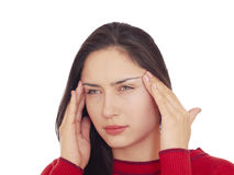 Young woman having a headache Royalty Free Stock Image