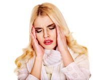 Young woman having  headache. Isolated Stock Photography