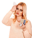 Young woman having headache  takes pills. Royalty Free Stock Image