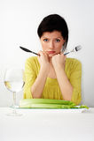 Young woman having her breakfast stock images