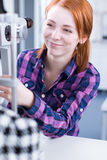 Young woman having her eyes examined Stock Photos