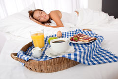 Young woman having home made breakfast Stock Photos