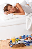 Young woman having home made breakfast Royalty Free Stock Photography