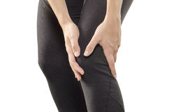Young Woman Having Knee Pain. Stock Photos
