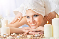 Young woman having massage Royalty Free Stock Image