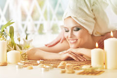 Young woman having massage Stock Photography
