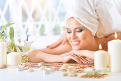 Young woman having massage Royalty Free Stock Photo