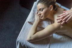 Young woman having a massage Stock Photo