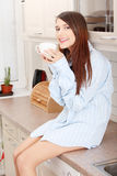 Young woman having morning coffee Royalty Free Stock Photography