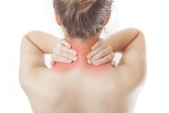 Young woman having neck pain. Concept royalty free stock photo