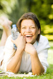 Young woman having a nice time outdoor Stock Photo