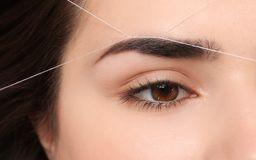 Young woman having professional eyebrow correction. Procedure, closeup stock photography