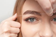 Young woman having professional eyebrow correction. Procedure in beauty salon stock photo