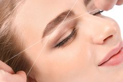 Young woman having professional eyebrow correction. Procedure in beauty salon royalty free stock photography