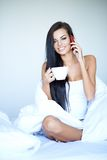 Young woman having a relaxing day at home Royalty Free Stock Image