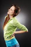 Young woman having a severe lumbar pain Stock Photos