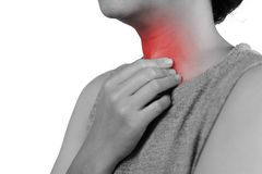 Young woman having sore throat and touching his neck, hand at his neck, feeling unwell, hard to swallow stock images
