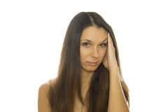 Young woman having splitting headache Royalty Free Stock Photos