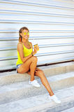 Young woman having a summer refreshing drink outside. Beautiful Royalty Free Stock Image