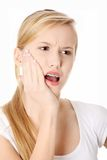 Young woman is having toothache Stock Images