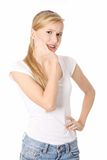 Young woman is having toothache Royalty Free Stock Images