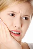Young woman is having toothache Stock Photo
