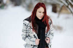 Young woman having a walk in winter forest Royalty Free Stock Image
