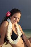 Young woman at a hawaii beach Stock Photography
