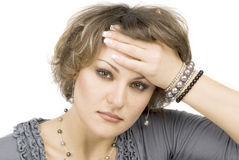 Young woman with head pain Royalty Free Stock Photography
