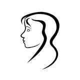 Young woman head profil Royalty Free Stock Photos