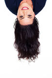 Head upside down. Young woman head upside down royalty free stock photo
