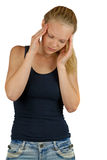 Young woman with headache Royalty Free Stock Image